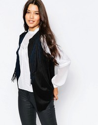 Пиджак без рукавов с бахромой Style London - Черный