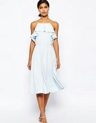 Приталенное платье миди с оборкой ASOS - Бледно-синий