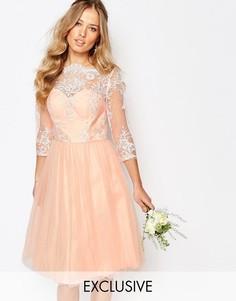 Кружевное платье миди с юбкой из тюля Chi Chi London - Rose cloud