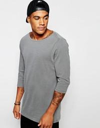 Серая свободная меланжевая футболка с рукавами 3/4 ASOS - Серый