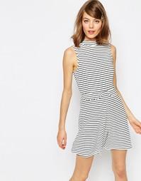 Платье-трапеция с принтом в полоску, карманами и высоким воротом ASOS