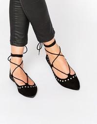 Черные туфли с заклепками на плоской подошве Public Desire - Черный