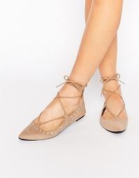 Туфли с заклепками на плоской подошве Public Desire - Телесный