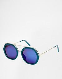 Большие круглые солнцезащитные очки с бирюзовыми стеклами AJ Morgan