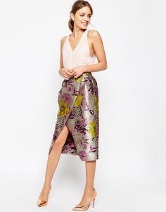 Жаккардовая юбка с запахом ASOS Premium - Яркий цветочный