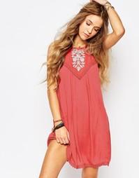 Свободное платье с вышивкой Hollister - Красный