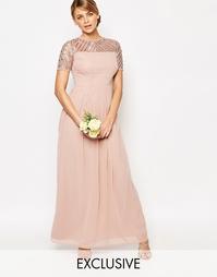 Шифоновое платье макси с отделкой Maya - Бледный розовато-лиловый