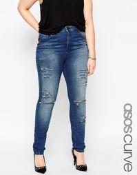 Выбеленные зауженные джинсы с большими прорехами ASOS CURVE Ridley