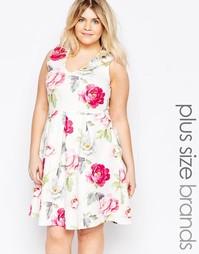 Короткое приталенное платье размера плюс с цветочным принтом Praslin