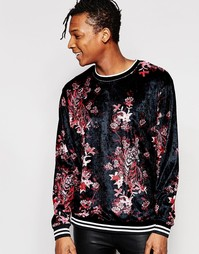 Бархатный свитшот с цветочным и тигровым принтом Jaded London - Черный