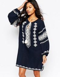 Темно-синее платье с вышивкой Star Mela Mayra