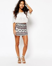 Мини-юбка с зеркальной отделкой Star Mela Ayla
