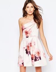 Приталенное платье на одно плечо с цветочным принтом Keepsake