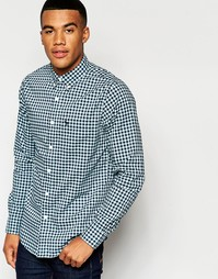 Темно-синяя клетчатая рубашка кроя слим Abercrombie & Fitch