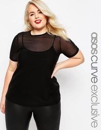 Сетчатая футболка ASOS CURVE - Черный