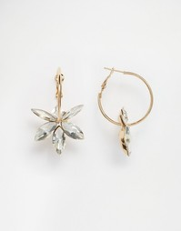 Серьги-кольца с цветком Coast - Золотой