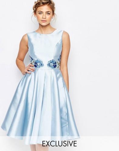 Платье миди с вышивкой сзади Chi Chi London - Синий