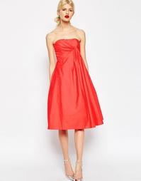 Платье миди для выпускного со складками ASOS Premium - Hot red