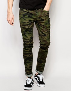 Облегающие джинсы камуфляжной расцветки Kubban - Черный