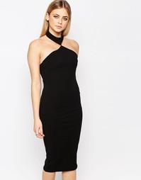 Облегающее платье миди с эффектной горловиной Boohoo - Черный
