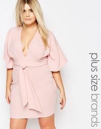 Платье-кимоно размера плюс с запахом Boohoo Plus - Blush
