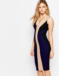 Платье-футляр миди с V-образным вырезом Vesper