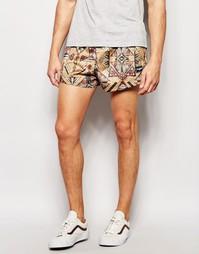 Короткие шорты из искусственной замши с принтом икат Jaded London