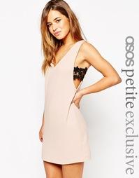 Цельнокройное платье с V‑образным вырезом и кружевными вставками по бо Asos Petite