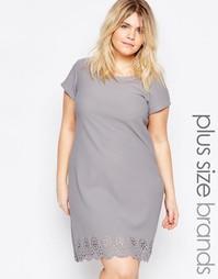 Цельнокройное платье размера плюс с ажурной отделкой Praslin - Серый