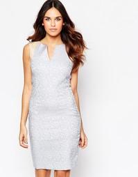 Жаккардовое платье с отделкой искусственной кожей Hybrid Kirsty
