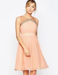 Приталенное платье с расклешенной юбкой Little Mistress - Peach