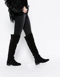 Высокие кожаные сапоги с заклепками ASOS KIMBER - Черный