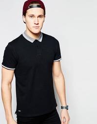 Однотонная футболка-поло с логотипом Threadbare - Черный
