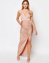 Платье с присборенной отделкой и лямкой через шею Ariana Grande for Li Lipsy