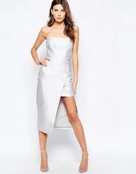 Светло-серое платье без бретелек с завышенной талией Keepsake
