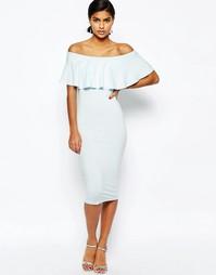 Облегающее платье миди с открытыми плечами и оборкой ASOS