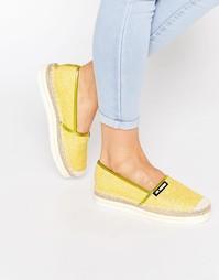 Желтые эспадрильи с блестящей отделкой Love Moschino - Желтый