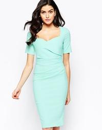 Платье-футляр с вырезом сердечком и складками сбоку City Goddess