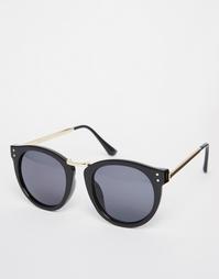 Черные круглые солнцезащитные очки с металлической отделкой AJ Morgan