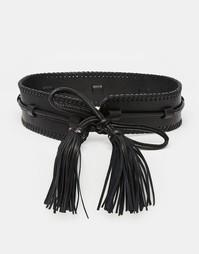 Кожаный ремень с кисточками Becksondergaard - Черный