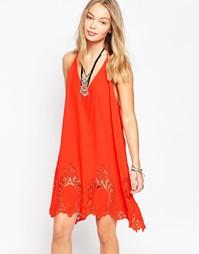Платье-сорочка Free People Livin - Красный (Красная петарда)