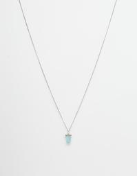 Серебристое ожерелье с бирюзовым камнем ASOS - Полированное серебро