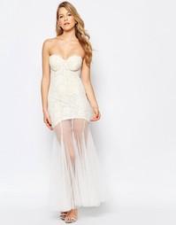 Платье макси с прозрачной юбкой Jarlo Sydney - Слоновая кость