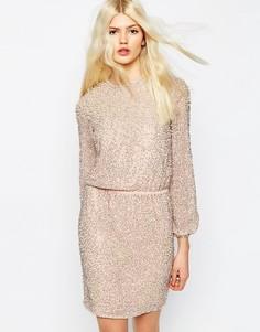 Платье мини с длинными рукавами и отделкой жемчугом ASOS Premium