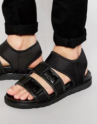 Черные сандалии-гладиаторы из неопрена с пряжками на ремешках Dark Fut