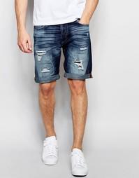 Темные джинсовые шорты с заплатками Jack & Jones - Темный синий