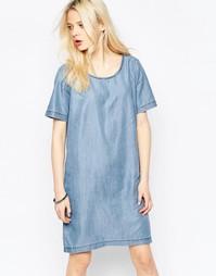 Джинсовое цельнокройное платье миди b.Young - Среднесиний