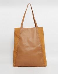 Кожаная сумка-шоппер с замшевыми вставками ASOS - Рыжий