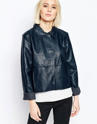 Куртка из искусственной кожи с застежкой на пуговицы и воротником Week Weekday