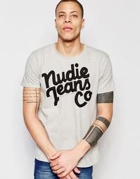 Футболка с круглым вырезом и логотипом Nudie Jeans - Серый